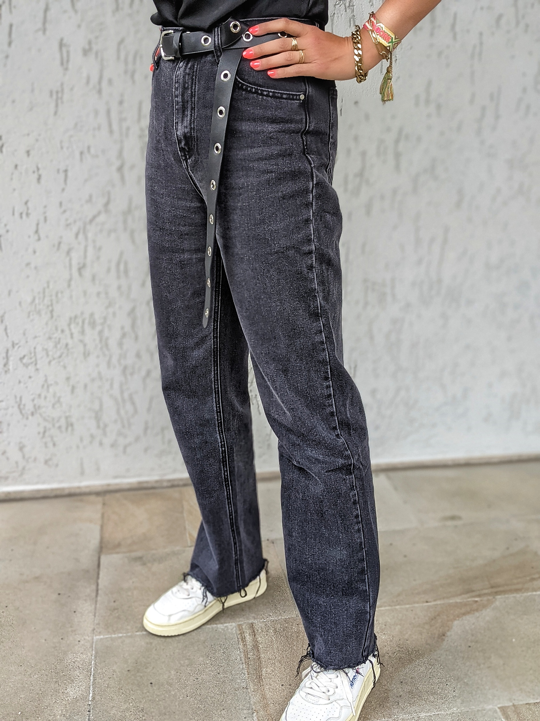 Straight Jeans Alina-black washed