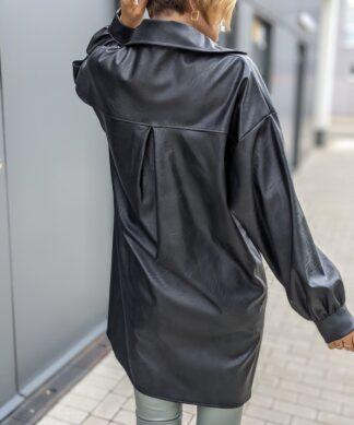 Oversizehemd in Lederoptik BLACK BEAUTY