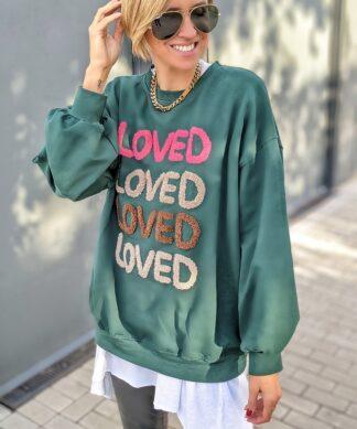 Sweater LOVED – geflockter Print – versch. Farben